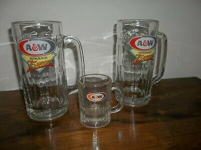 "Vintage rare A&W tall root beer mug 75th anniversary 2 large 7"" & 1 small 3 1/4"""