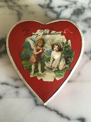 Antique German Heart Shaped Cardboard Valentine Cupid Candy Box