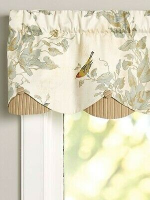 """Country Curtains Vermont Store 2 """"Aviary Layered Scalloped Rod Pocket Valance"""""""