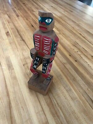 Northwest  Coast  Native Art Painted Wood Carving Man Totem - Makah