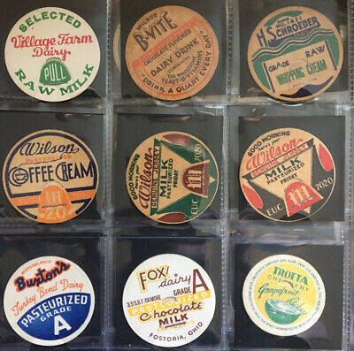 Vintage Milk Bottle Caps - 9 Different Caps from MI and OH Dairies Lot