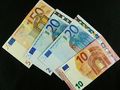 €100 / 100 Euro.. Four Euro Banknotes...One €50, Two €20, & One €10 = €100 Total
