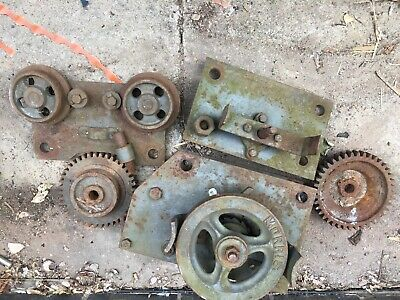 Vintage morris Industrial Winch Pully System Cast Iron Factory Gear Display Show