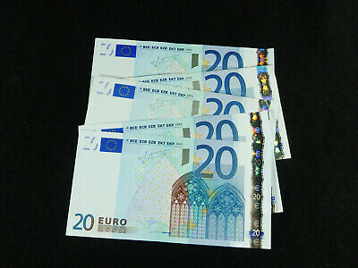 Five Authentic €20 / 20 Euro Banknotes... €100 / 100 Euro total... 2002 issue