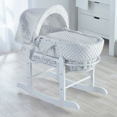 Brand New Kinder Valley White Wicker Baby Moses Basket Cot Bed & Rocking Stand