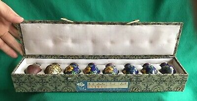 Vintage/Antique Chinese Cloisonne Vases 8 Stages of Production in Silk Case