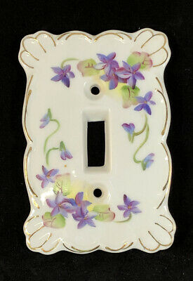 Pretty Purple Flower Kelvin Fine China Single Switch Plate Cover