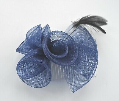 Navy blue wedding fascinator hair comb. Net mesh rosebuds, half bow and feathers