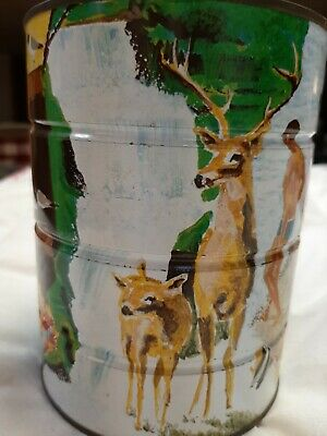 Vintage 1960's Coffee Tin Can Folger's? Four Seasons - Great Graphics!