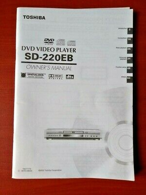 Toshiba Sd-220Eb Dvd Player - Operating Instructions - Owners Manual