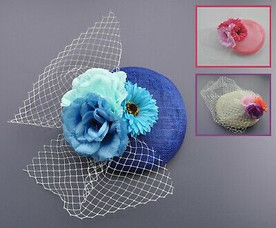 Royal blue sinamay & net fascinator/hatinator/hair clip with fabric flowers. UK