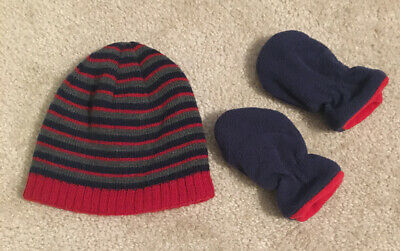 Hat And Mitten Set Infant Baby Boy 12 Months Good Condition!