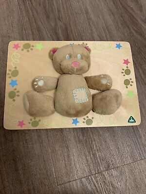 Childrens Teddy Bear Puzzle Soft Teddy On Wooden Board Hangs On Wall From ELC