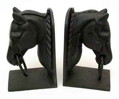 "Cast Iron Heavy  Horse Head Bookends Painted 8"" Tall Great Western DECOR"