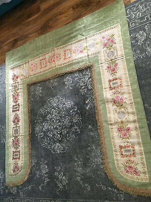 Divine French  Chateau Antique Silk And Embroidered Lambrequin Window Pelmet