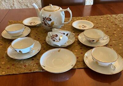 Royal Copenhagen Brown Iris pattern with gold rims- LOT OF 17 PIECES