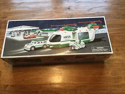 2001 Hess Helicopter with Motorcycle and Cruiser NEW IN BOX, MINT CONDITION