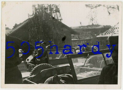 WWII US GI Photo - XXI Corps GIs In Jeeps By Camo Net At SS Kaserne Obersalzberg