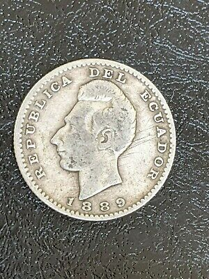 ECUADOR 1889 Lima 2 Decimos Silver Coin in Very Good/Fine condition #KM 51.3