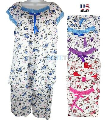 Women Cotton Pajamas Set 2Pcs Top Bottom Sleepwear Nightwear Floral Short Sleeve