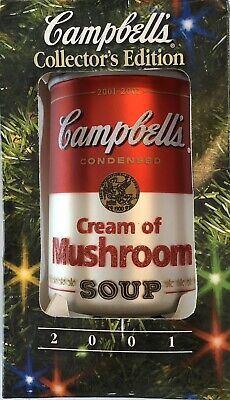 2001 Campbells Soup Collectible Cream of Mushroom Soup Christmas Ornament Rare!!