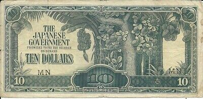 Malaya 10 Dollars 1942-44, Pick M 7B BLOCK # MN Japanese Occupation