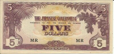 Malaya 5 Dollars 1942-45, Pick M 6 BLOCK # MR    Japanese Occupation