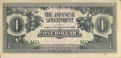 Malaya 1 Dollar 1942-45, Pick M 5   BLOCK # MO  Japanese Occupation