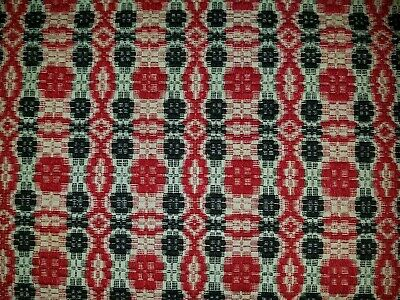 Antique Two Panel 19th Century Red, White & Blue Coverlet