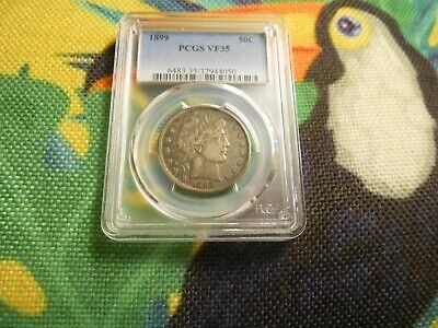 1899  Barber Half Dollar PCGS  VF 35 US Silver Certified 50c Toned Type Coin