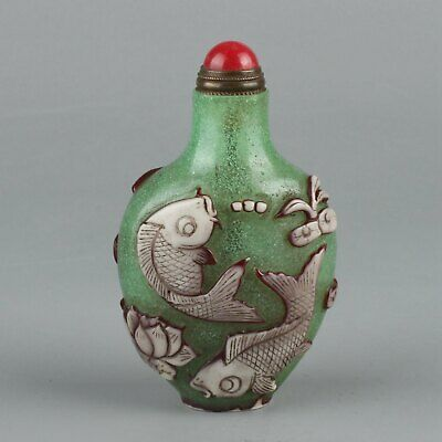 Chinese Exquisite Handmade lotus fish Crane Glass snuff bottle