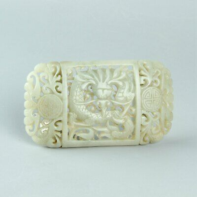 Chinese Exquisite Hand carved Hetian jade buckle