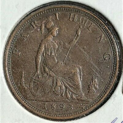 UK 1893 1 One Farthing Bronze Coin XF-AU Victoria KM 753