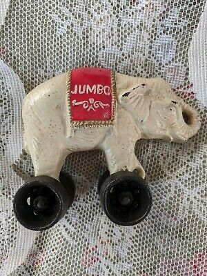 Vintage Cast Iron Elephant Bank And Pull toy