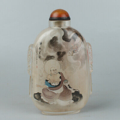 Chinese Exquisite Handmade Luohan Inner painting Glass snuff bottle