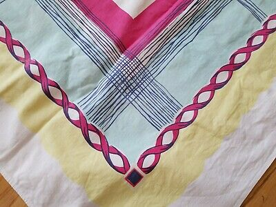 Vintage Mid-Century Cotton Tablecloth Plaid Chain Yellow Pink Blue 50x63