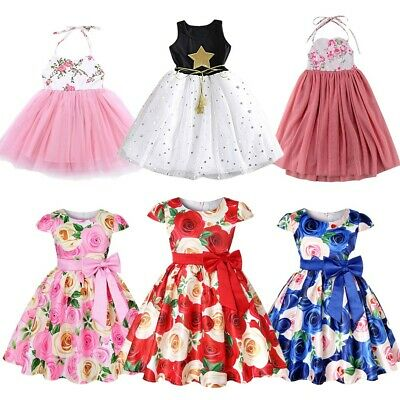 Baby Girls Dress Rose Flower Princess Wedding Birthday Party Costume Kids Dress