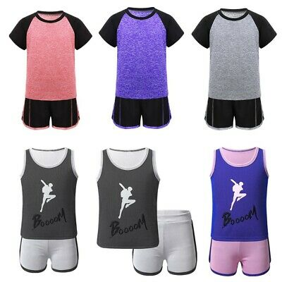 Kids Boys Girls Quick Drying Activewear Outfit T-Shirt Top with Shorts Tracksuit
