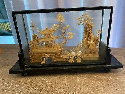 """Vintage Chinese Cork Carving Art Scene In Glass Case Wood Stand 9.5"""" X 2.5"""" X 6"""""""