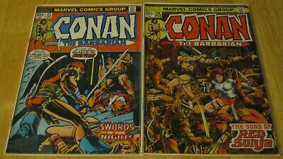 Lot of 2 Conan the Barbarian 23, 24 first appearance Red Sonja 1972 Marvel