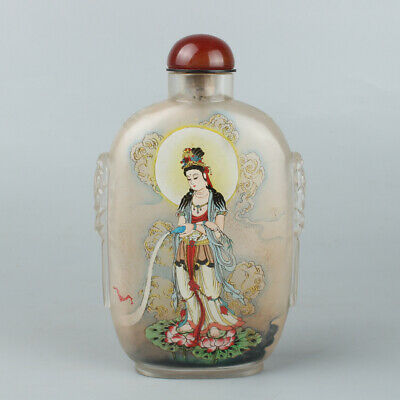 Chinese Exquisite Handmade Guanyin Inner painting Glass snuff bottle