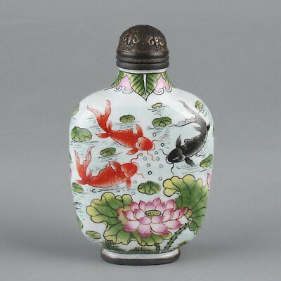 Chinese Exquisite Handmade lotus fish copper Enamel snuff bottle
