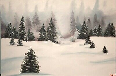"3' X 2' Hand Painting, ""The Winter Pine Forrest """