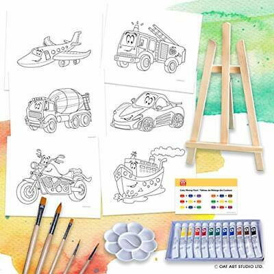 OAT ART STUDIO 26 Piece Kids Art Painting Set with wood Easel, 6 (vehicles)