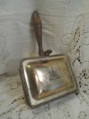 Vntg~Antq F.B.Rogers Etched Shield SilverPlate Wood Hndl Silent Butler Ash Box