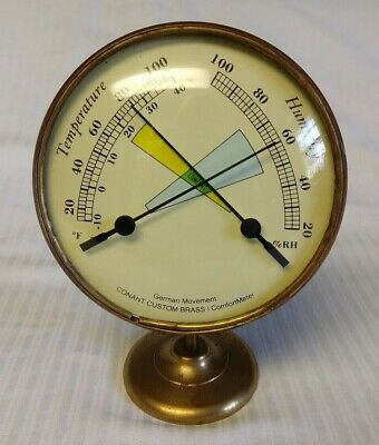 Vtg Conant Brass Comfort Meter Temperature/Humidity German Movement Thermometer