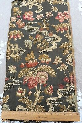 """French Antique 19thC Exotic Chinoiserie Silk & Cotton Jacquard Fabric~24"""" X11.5"""""""