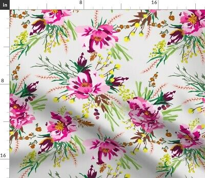 Hot Pink Flowers Bright Floral Blush Flora Fabric Printed by Spoonflower BTY