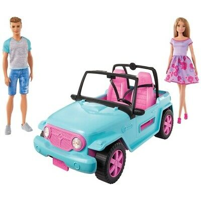 Barbie and Ken Dolll Blue Jeep Car RARE Limited Edition