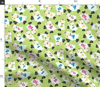 Counting Sheep Green Numbers Animals Nursery Fabric Printed by Spoonflower BTY